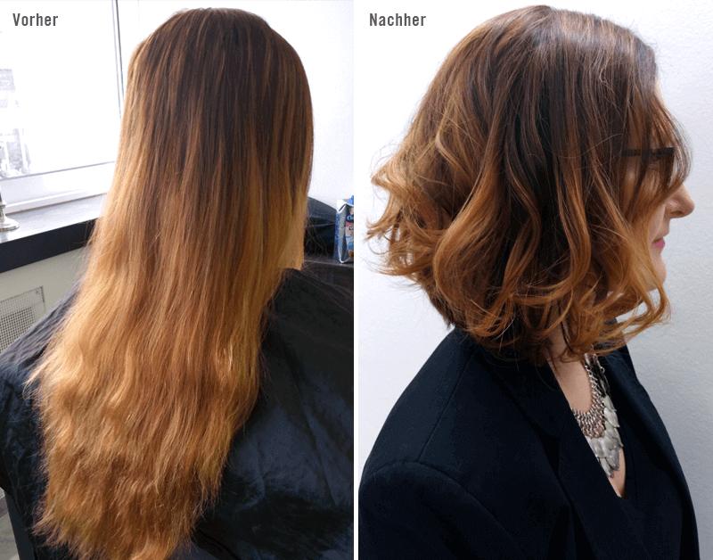 Umstyling Pavo Essen — Aus langen Haaren einen Bob gemacht